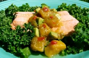 L) Salmon dinner